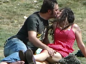Dry humping and kissing in middle of park