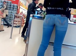 Slender ass in tight blue jeans