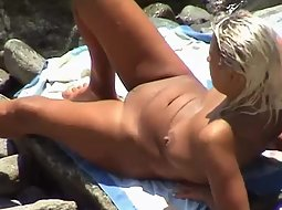 Well tanned blonde woman