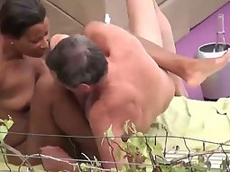 Older guy fucks his black mistress