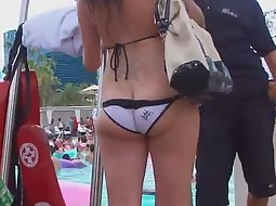 Tattooed asses on the pool party