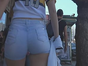 Tight shorts and gap between legs