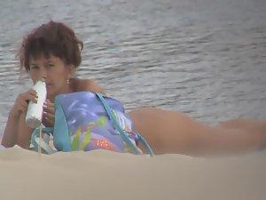 Peeping on isolated nudist beach