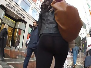 Transparent tights seen on rainy day