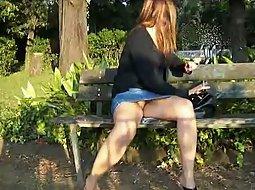 Frisky lady in the park