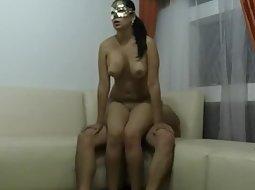 Masked girl showing her skills