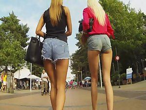 Tall leggy girls walking together