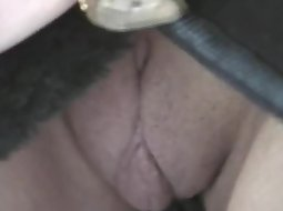 Public flashing of a smooth pussy