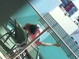 Voyeur caught sex by the private pool