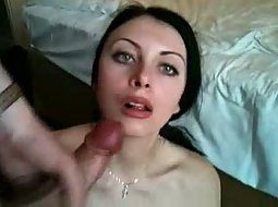 Slut gets her face full of cum