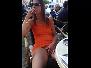 Wife touches her pussy in a crowded coffee bar