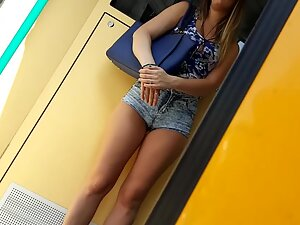 Little big of cameltoe in shorts of a stunning girl