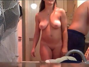Curvy girl takes a shower with boyfriend