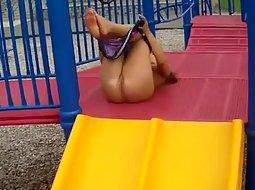 Crazy girlfriend on the playground