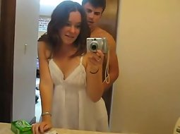 Bathroom sex in front of a mirror