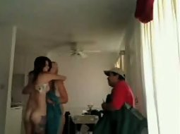 Pizza delivery to two naked girls