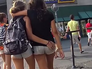 Naughty teen girls hug and spank each other