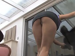 Slutty woman cleans the windows