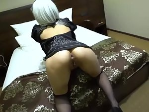 Anal sex in sleazy anime costume