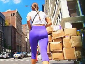 Sporty babe in hot purple tights