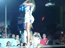 Sexy slut shows off on the stage