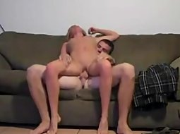 Tall blonde girl rides a hard dick