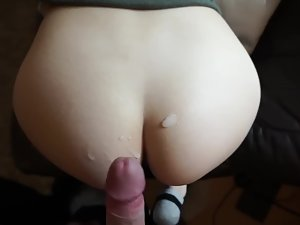 Blowjob with blindfold and using her ass like cum rag