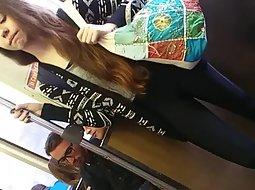 Sexy cameltoe of a slender girl