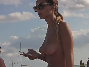 Topless girl with amazing natural tits