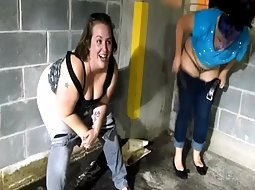 Two sluts taking a pee