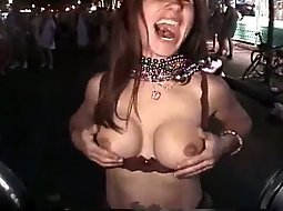 Drunk babe showing boobs