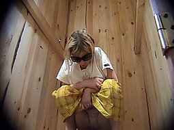 Hot woman in a public toillete