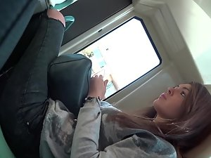 Kissable lips of gorgeous teen girl in train