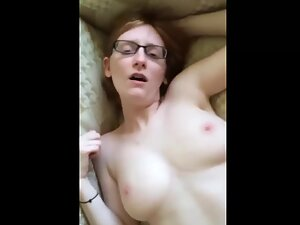 Nerdy girl loves hardcore fucking on couch