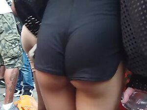 Skinny girl with small ass bubbles in shorts