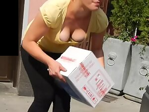 Big pale tits nearly slip out of her blouse