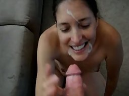 Cum on her face made her happy