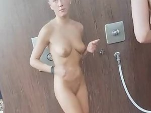Petite nudist girl in shower area