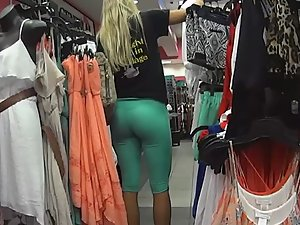 Fantastic ass in clothes store