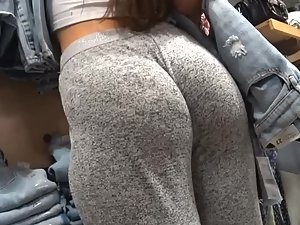 Most beautiful young butt seen in clothes store