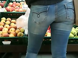 Two round melons in the fruit store