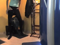 Slender woman in the tanning saloon