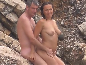 Nudist woman is embarrassed during sex