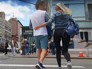 Following a fit blonde through the street