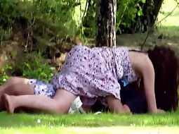 Passionate couple in the park