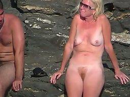 Blonde nudist with a fire bush