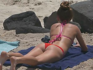 Petite girl looks awesome in red thong bikini
