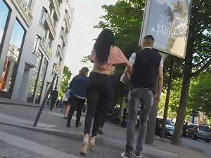 Tall sexy girl walks with a friend