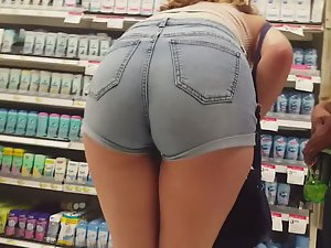 Amazing young ass in supermarket