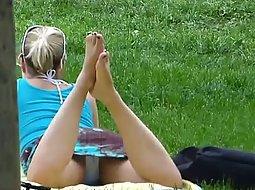 Lovely view between her legs